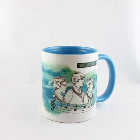 Tasse, Kulturshop Leipzig, Souvenir, Thomanerchor, Skyline Leipzig, Keramiktasse, blau,