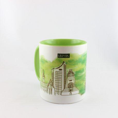 Tasse, Kulturshop Leipzig, Souvenir, Thomanerchor, Skyline Leipzig, Keramiktasse, , grün,