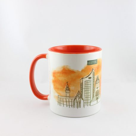 Tasse, Kulturshop Leipzig, Souvenir, Thomanerchor, Skyline Leipzig, Keramiktasse, rot,