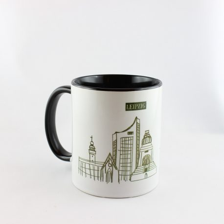 Tasse, Kulturshop Leipzig, Souvenir, Thomanerchor, Skyline Leipzig, Keramiktasse, ,schwarz,