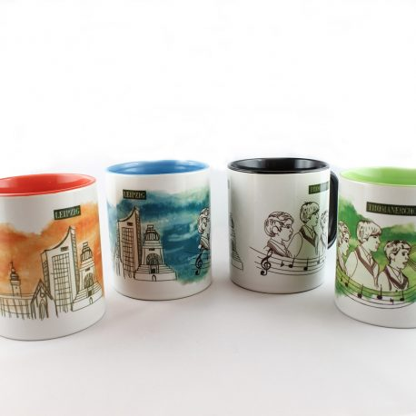 Tasse, Kulturshop Leipzig, Souvenir, Thomanerchor, Skyline Leipzig, Keramiktasse, ,schwarz,rot, grün, blau,