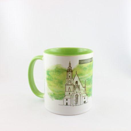 Tasse, Kulturshop Leipzig, Souvenir, Keramiktasse, Thomaskirche, Bach, Mitbringsel, grün,