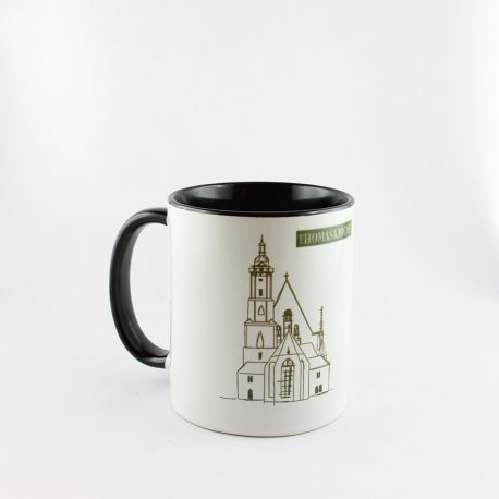 Tasse, Kulturshop Leipzig, Souvenir, Keramiktasse, Thomaskirche, Bach, Mitbringsel, schwarz,