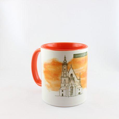 Tasse, Kulturshop Leipzig, Souvenir, Keramiktasse, Thomaskirche, Bach, Mitbringsel, rot,