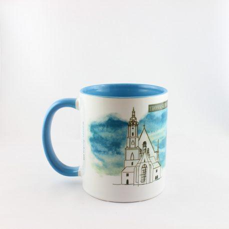 Tasse, Kulturshop Leipzig, Souvenir, Keramiktasse, Thomaskirche, Bach, Mitbringsel, blau,