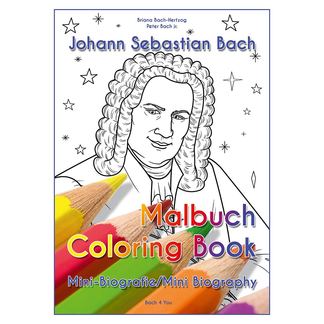 Johann Sebastian Bach Malbuch mit Mini-Kurzbiografie