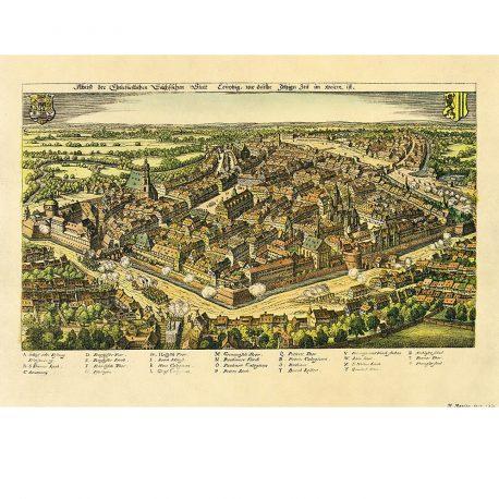 Leipzig historischer Stadtplan 1620.