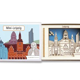 Mini Leipzig Miniatur-Silhouette in Streichholzschachtel