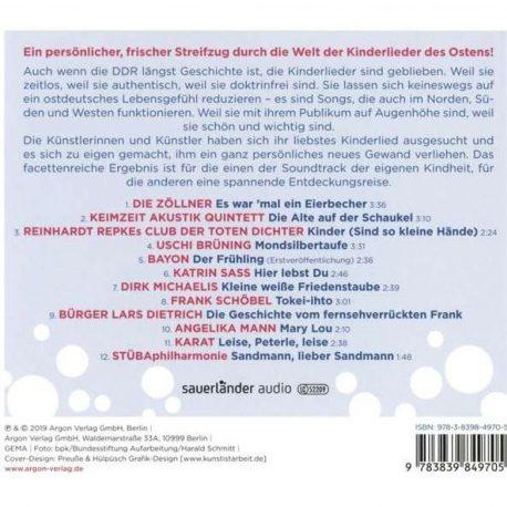 Kinderlieder aus dem Osten. Rückseite der CD mit Titelliste.