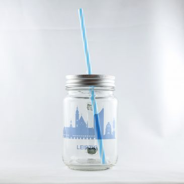 Henkelglas mit Deckel</br>von Mason Jar </br>Motiv: Leipzig Skyline </br>[400ml]