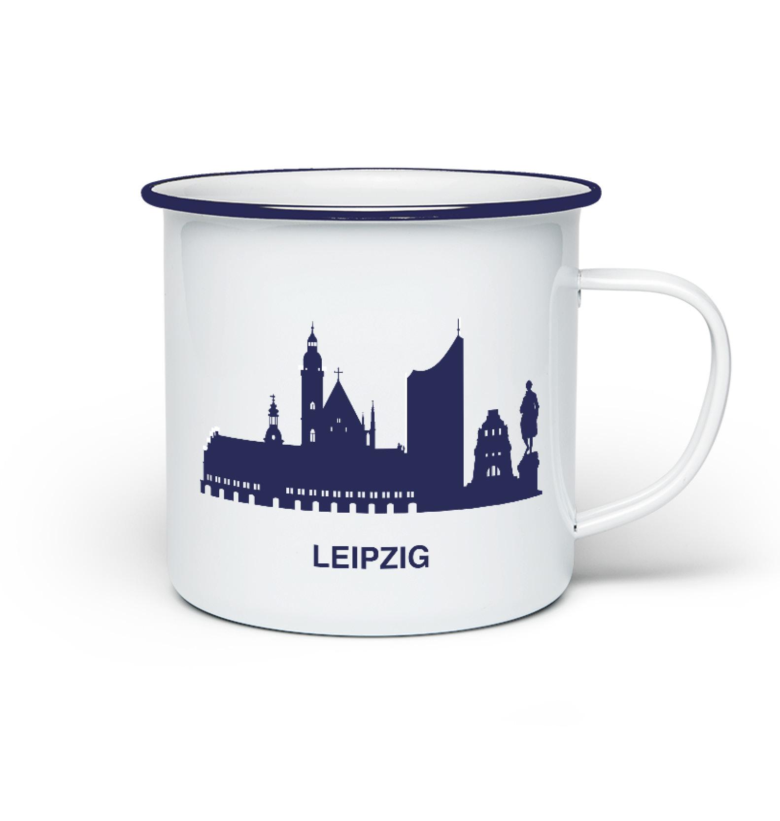 Emaillie TAsse Leipzig wei blau