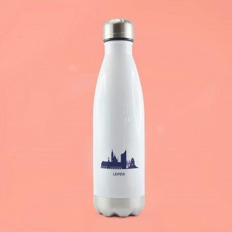Edelstahl-Thermoflasche mit schriftzug blauer skyline Leipzig.