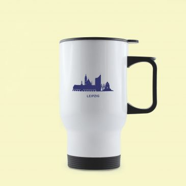 Thermobecher </br>Edelstahl</br> Motiv: Leipzig Skyline</br>Farbe: blau/weiß</br> [390 ml]