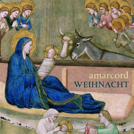 Cd Cover von Amacord mit der Geburt Christi.