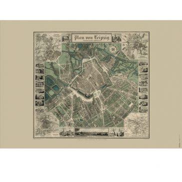 Historischer Stadtplan Leipzig 1847