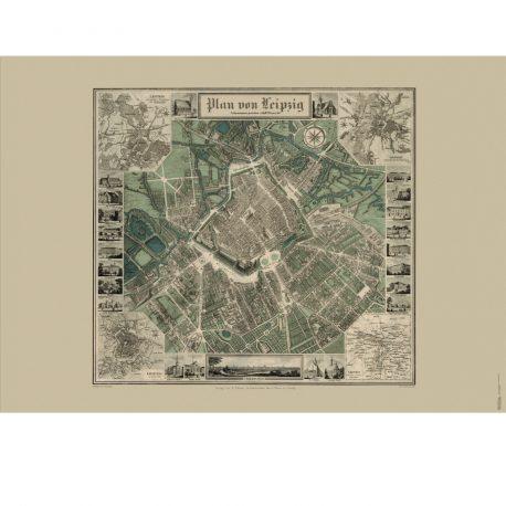 Historisher Stadtplan Leipzig 1847