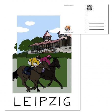 Galopprennbahn Leipzig mit zwei Reitern im gelben und pinken shirt auf einem schwarzen und einem braunen Pferd.