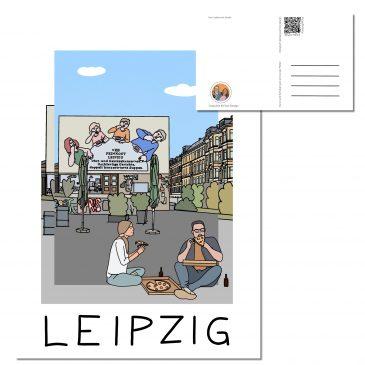 Postkarte LEIPZIG </br> Motiv: Löffelfamilie