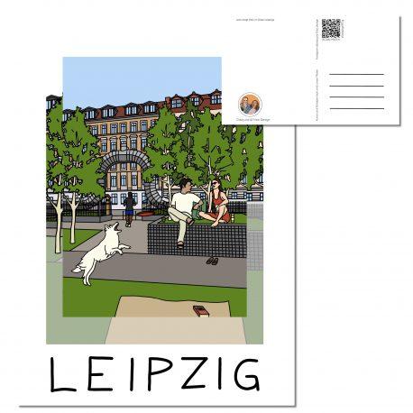 Lene Voigt Park in Leipzig mit verliebtem Pärchen  und weißem Hund.