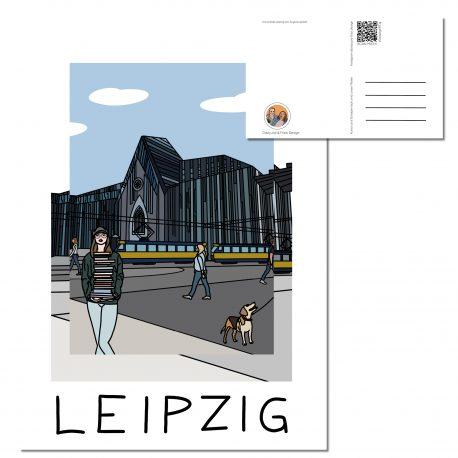 Postkarte Leipzig mit dem Motiv der Universität Leipzig und im Vordergrund der Augustusplatz und die PaulinerKirche.