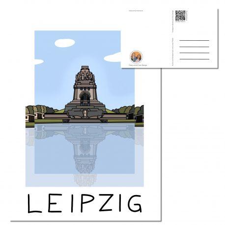 Postkarte mit dem Völkerschlachtdenkmal und im Vordergrund der See der Tränen.