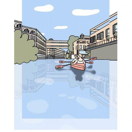 Postkarte Leipzig mit dem Motiv Karl Heine Kanal und Ruderboot handgezeichnet.