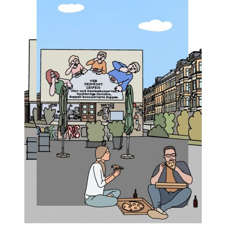 Postkarte Leipzig mit dem Motiv der Karl LIebknecht Straße und der Löffelfamilie.