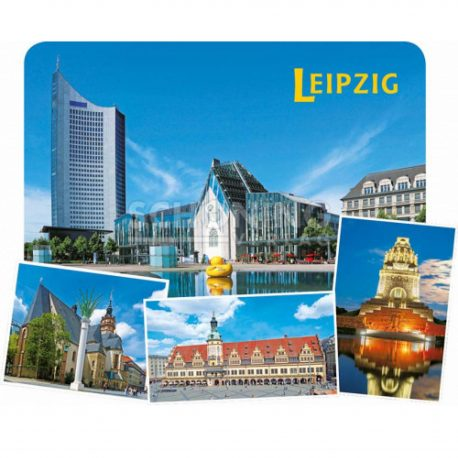 Magnete in 3D Optik mit Stadtansichten Leipzig. Völki, Augustusplatz Leipzig, Nikolaikirche, Marktplatz LEipzig.