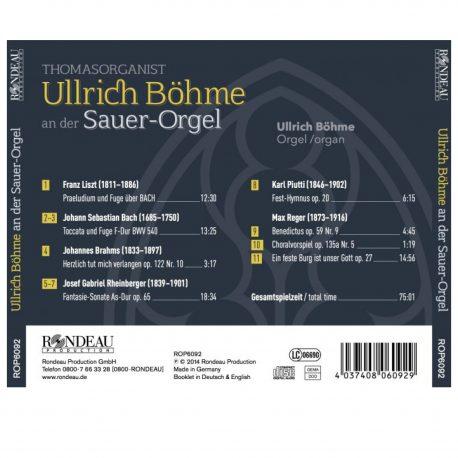 CD Cover Rückseite von Ullrich Böhme an der Sauer Orger in der Thomaskirche Leipzig.