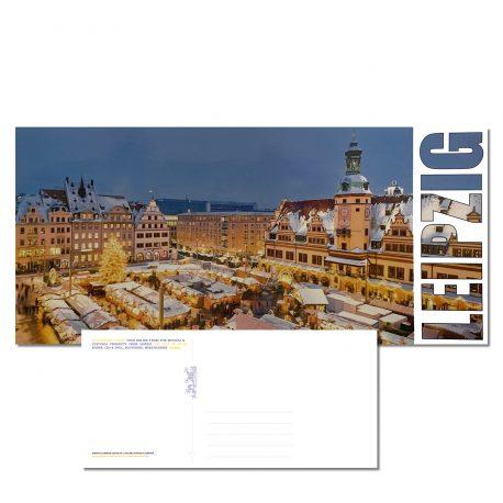 Postkarte Leipziger Weihnachtsmarkt vor dem Alten Rathaus auf dem Leipziger Marktplatz im Winter.