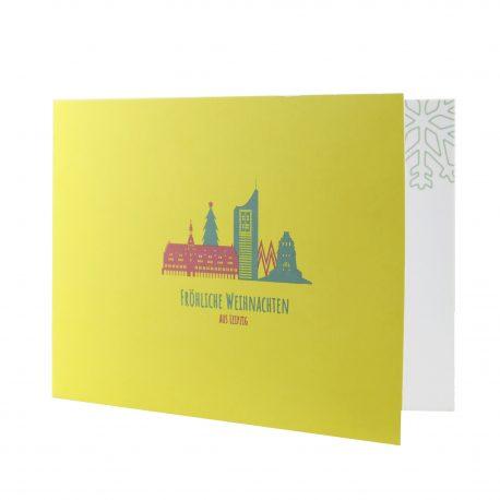 Weihnachtskarte aus Leipzig mit der Skyline von Leipzig